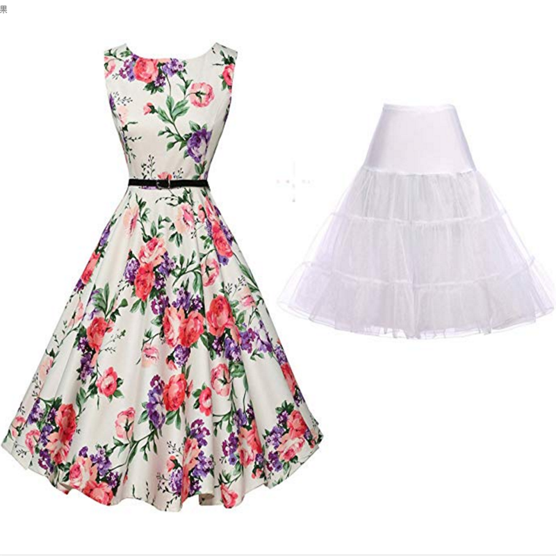 50's Retro Dress Summer Elegant Ladies Fashion Floral Sleeveless Dress Banquet Party Prom Casual Evening Dress