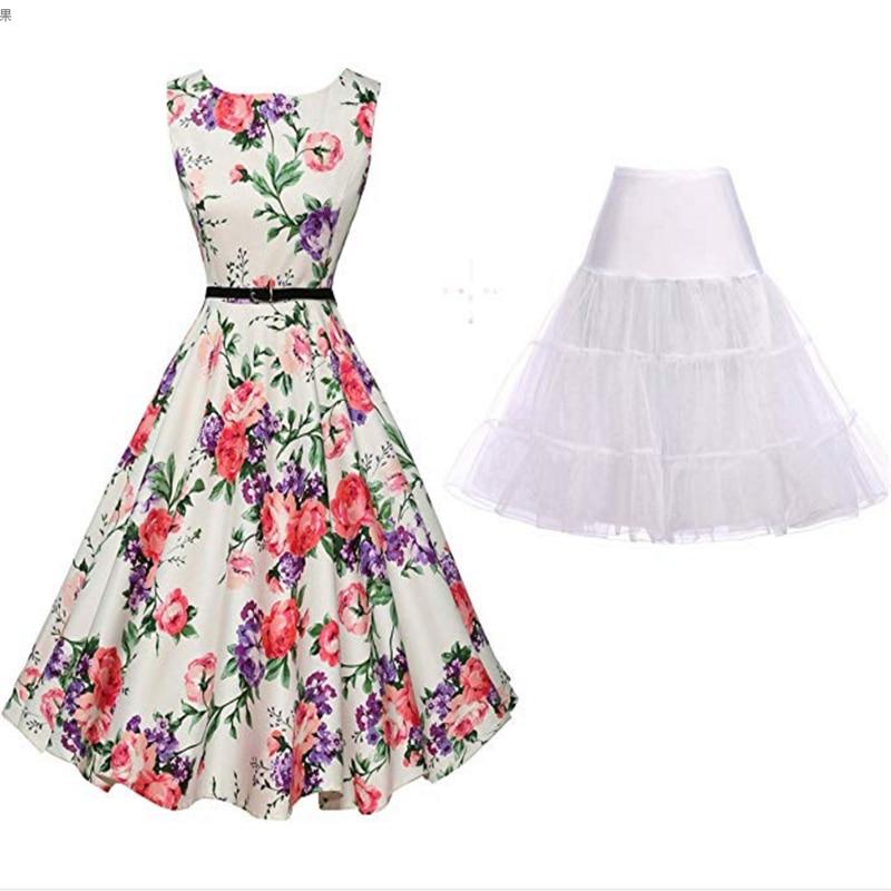 50's Retro Dress Summer Elegant Ladies Fashion Floral Sleeveless Dress Banquet Party Prom Casual Evening Dress