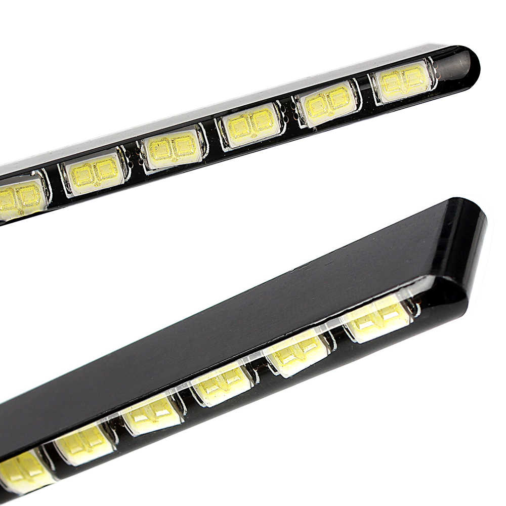 LEEPEE SMD aluminiowa obudowa 7030 12 diod Led taśmy Led samochodów DRL światła dzienne światło dzienne Car Styling 2 sztuk światła przeciwmgielne