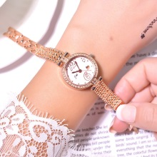 Gold Stainless Steel Women Bracelet Watches Luxury Fashion Diamond Dres