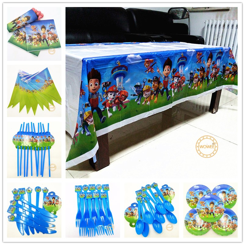 82pc Paw Patrol Party Supplies Decoration Kids Puppy Patrol Birthday Dog Disposable Tableware Tablecloth Cups Plates Favors Gift