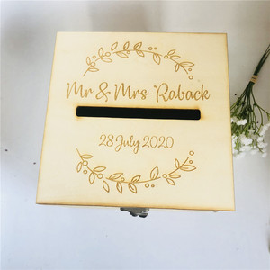 Image 5 - Personalised Bride and Groom Wedding Guests Wish Post Box with wreath Cards Envelopes Drop in Memory Wishing Well Wooden Box