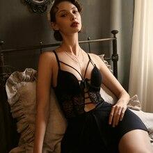 Сексуальная женская летняя Пижама, тонкий бюстгальтер на косточках, шелковое домашнее платье с красивыми подтяжками на спине