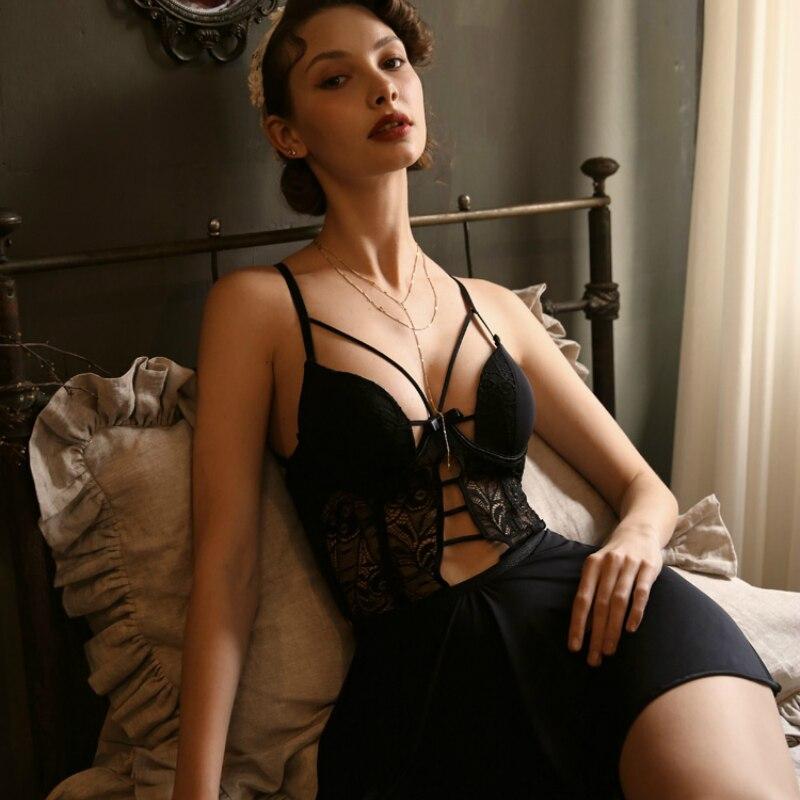Sexy Sleepwear Female Summer Thin Underwire Cup Bra Ice Silk Home Dress with Beautiful Back Suspender SleepshirtsNightgowns & Sleepshirts   -