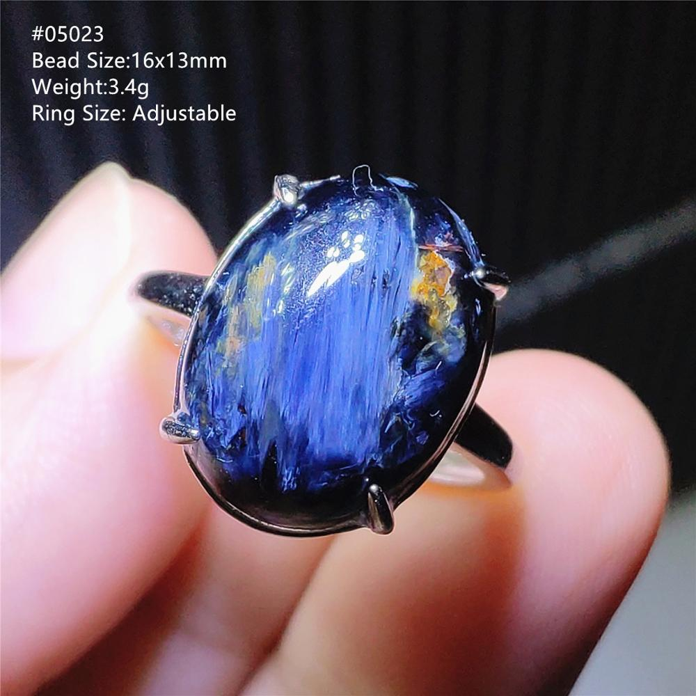 From Namibia Natural Blue Pietersite Yellow Gemstone Chatoyant Adjustable Size Ring 925 Silver Crystal Women Men AAAAA