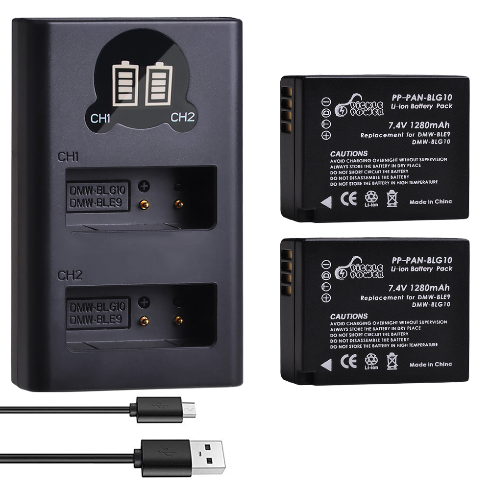 2Pcs 1280mAh DMW-BLG10 BLG10 BLG10e DMW-BLE9 Battery &LED Dual USB Charger for <font><b>Panasonic</b></font> <font><b>LUMIX</b></font> GF5 GF6 GX7 GX9 <font><b>LX100</b></font> GX80 GX85 image