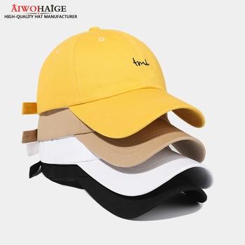 2021 New baseball tone men's cap women's cap dad hat Long Visor solid outdoor hat Streetwear visor black game cotton high qualit