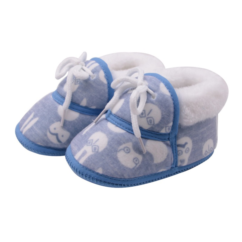 2019 Winter Baby Shoes Newborn First Walkers Toddler Girls Boys Cute Cartoon Print Non-slip Warm Infant Lace-Up Shoes 0-12M New