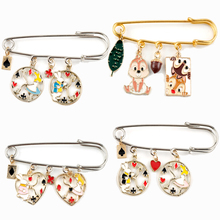 Cartoon Private Pluto Enamel Safe-pin Brooch Chip n Dale Figure Pendant Pins Alice In Wonderland Theme Brooches Jewelry Rabbit