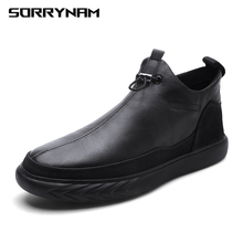 2019 Casual Leather Boots Genuine Men Shoes Fashion Male Winter Ankle