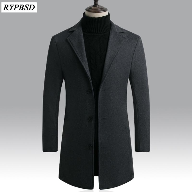 Men Wool Blends Coats Autumn Winter New 2019 Winter Solid Color Casual Wool Coat Men's High Quality Long Wool Blends Coat Male