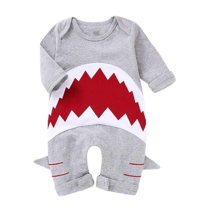 Spring Baby Clothes Boy Girl Rompers Long Sleeve Cartoonborn Cotton Shark Pattern Jumpsuit Costumes Animal Pajamas Outwear