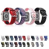 Correa de silicona suave para Apple Watch, banda de goma deportiva transpirable de 44mm, 40mm, 38mm y 42mm, serie iWatch 5 4 3 SE 6