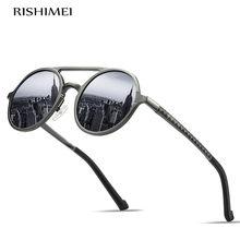 Novo estilo masculino alumínio-quadro de magnésio polarizado óculos de sol retro moldura redonda elegante óculos de condução uv400