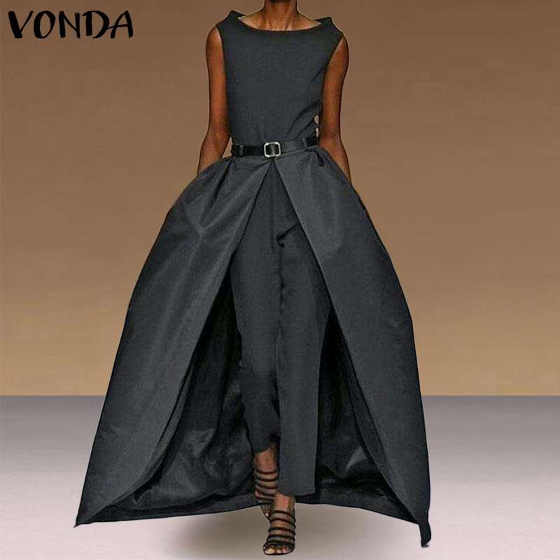 Party Jumpsuits Women Sleevelesss Playsuits Vintage Rompers Office Ladies Overalls Long Pants VONDA Female Trousers Pus Size