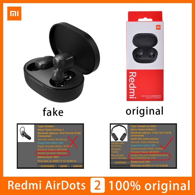 Оригинальные беспроводные наушники Xiaomi Airdots 2 TWS Redmi Airdots Bluetooth 5,0 наушники гарнитура True с микрофоном автосоединение