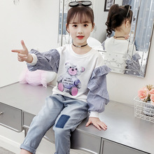 Child T-shirts Spring Autumn Kids Girls Cartoon Bear Loose Elastic Cotton Basic Shirt Ruffle Sleeve Princess T Top Clothes