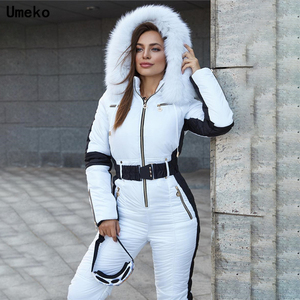 Umeko 2020 Winter Women's Hooded Jumpsuits Parka Cotton Padded Warm Sashes Ski Suit Without Belt One Piece Casual Tracksuits