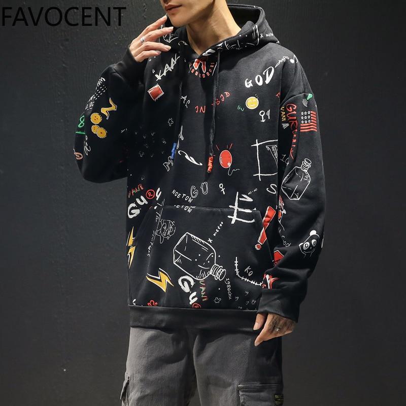 New Mens Hoodies Fleece Harajuku Print Cotton Hooded Pullover Hip Hop Sweatshirt Men Women Hoodie Sweatshirts Male Streetwear