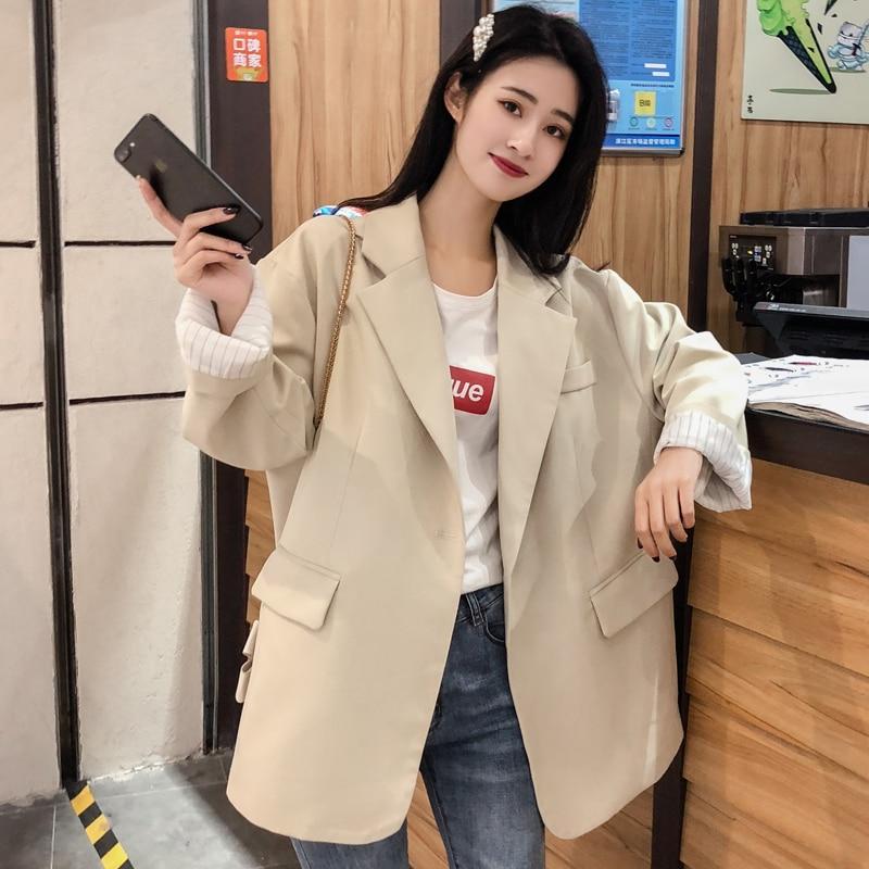 Simple Vintage Ladies Blazer Black Casual Loose Suit Jacket Long Sleeve  Giubbotto Donna Korean Women Jacket Spring New MM60NXZ