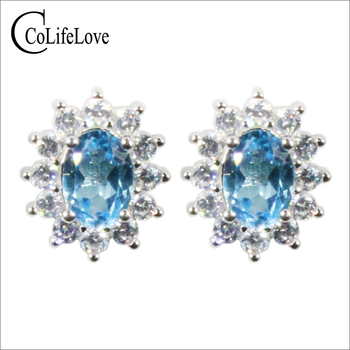 CoLife Jewelry 100% Natural Topaz Stud Earrings for Office Lady 6*8mm Light Blue Topaz Earrings 925 Silver Topaz Jewelry