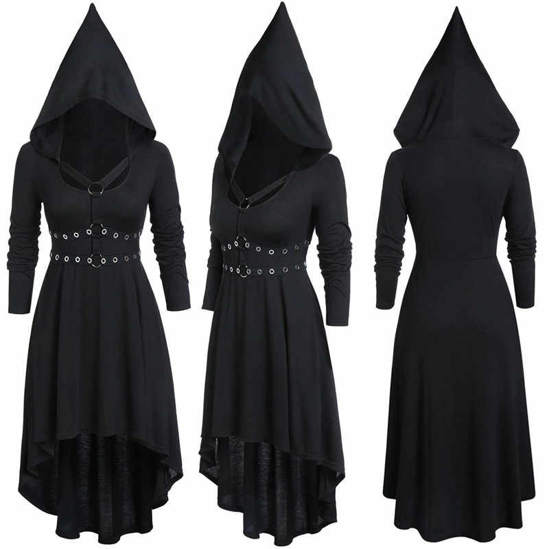 Pelerin elbise kadınlar Vintage kapşonlu dantel Up gotik çapraz uzun kollu uzun elbise sonbahar kış rahat uzun pelerin elbise Robe Vestidos7