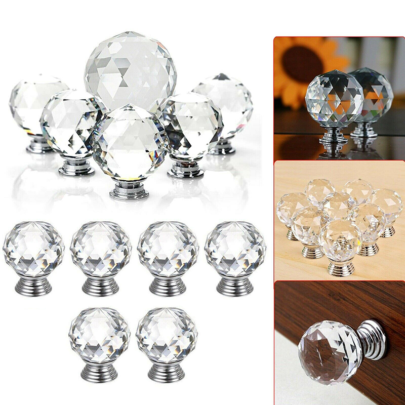 32Pcs 40mm Crystal Glass Rhinestone Shape Cabinet Knob Door Drawer Pull Handle
