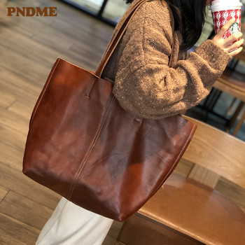 PNDME genuine leather tote bag for women fashion vintage outdoor simple shopping bag handbag high quality cowhide party bags