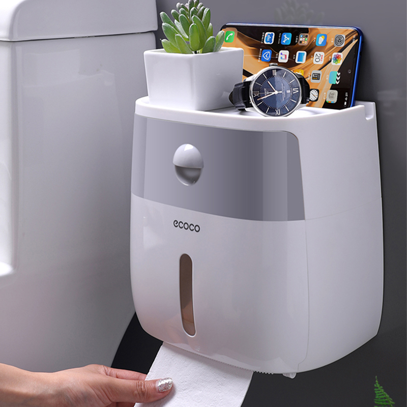 Waterproof Toilet Paper Holder Plastic Paper Towels Holder Wall Mounted Bathroom Shelf  Storage Box Portable Toilet Roll Holder