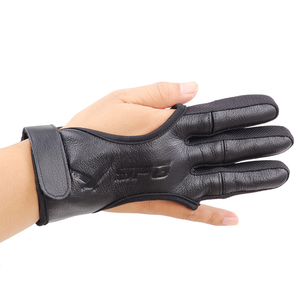 Good Quality New 3 Finger Gloves Leather In Black High Elastic Hand Protection Archery Protective Gloves For Hunting Shooting