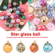 New Korean Style Colorful Transparent Glass Ball Quicksand Double Sided Zircon For DIY Jewelry Earrings  Accessaries