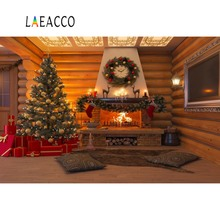 Laeacco Christmas Backdrops Tree Brick Fireplace Wreath Sock Carpet Wooden House Interior Photographic Backgrounds Photo Studio