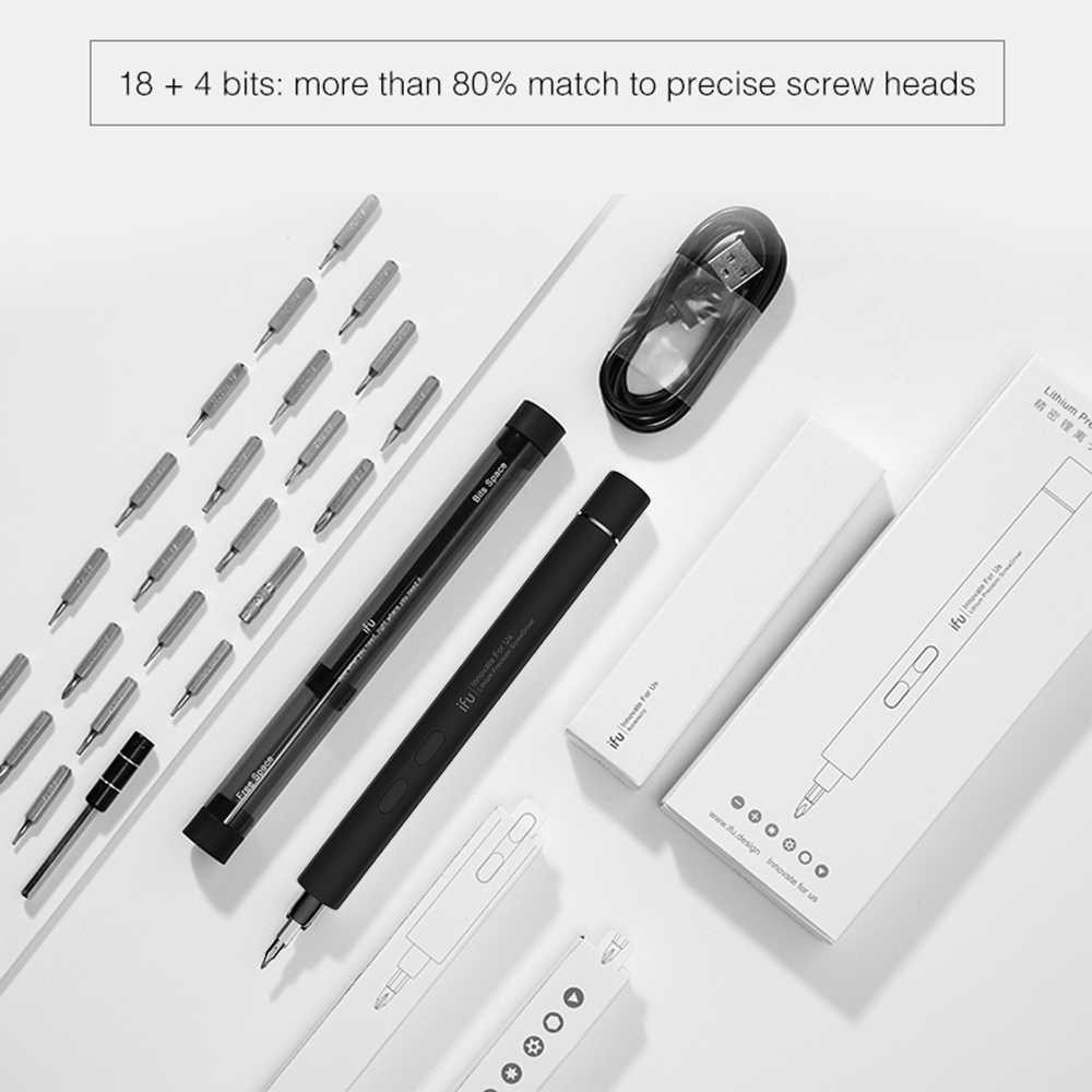 مفك كهربائي 18 مفك البراغي رمادي أبيض USB شحن الدقة الكهربائية الصغيرة اللاسلكي المغناطيسي مفك مسامير إصلاح