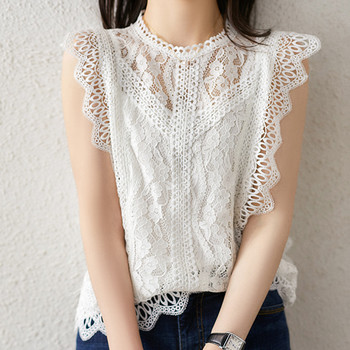 MUMUZI White Blouse Women Casual basic sleeveless lace Tops black Hollow out womens tops and blouses Ruffles Shirt Female chic flower shape and hollow out embellished black and blue sunglasses for women