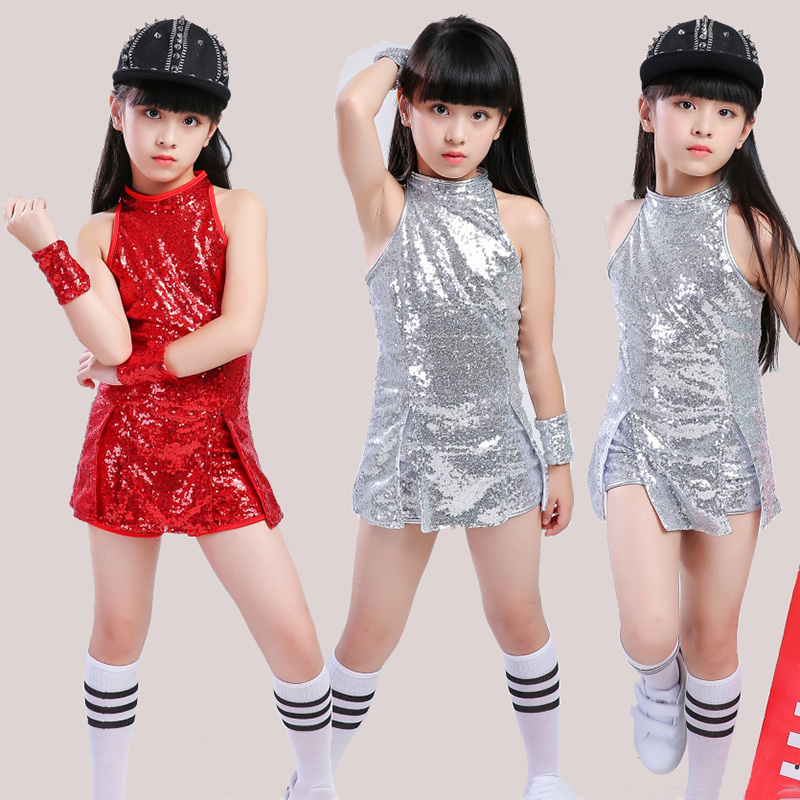 Kids Hip Hop Dance Costume Girls Jazz Costumes Street Dance Clothing Cheerleading Sequin Outfit Vest Shorts Stage Dress
