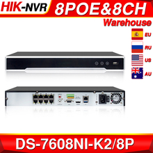 Hikvision original nvr DS 7608NI K2/8p 8ch poe nvr 8mp 4k registro 2 sata para poe câmera de segurança gravador vídeo rede