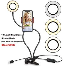 Selfie Make Ring Licht USB LED Dimbare Foto Verlichting met Telefoon Clip Houder Lazy Bracket Bureau voor Iphone 7 plus /8/X Android(China)