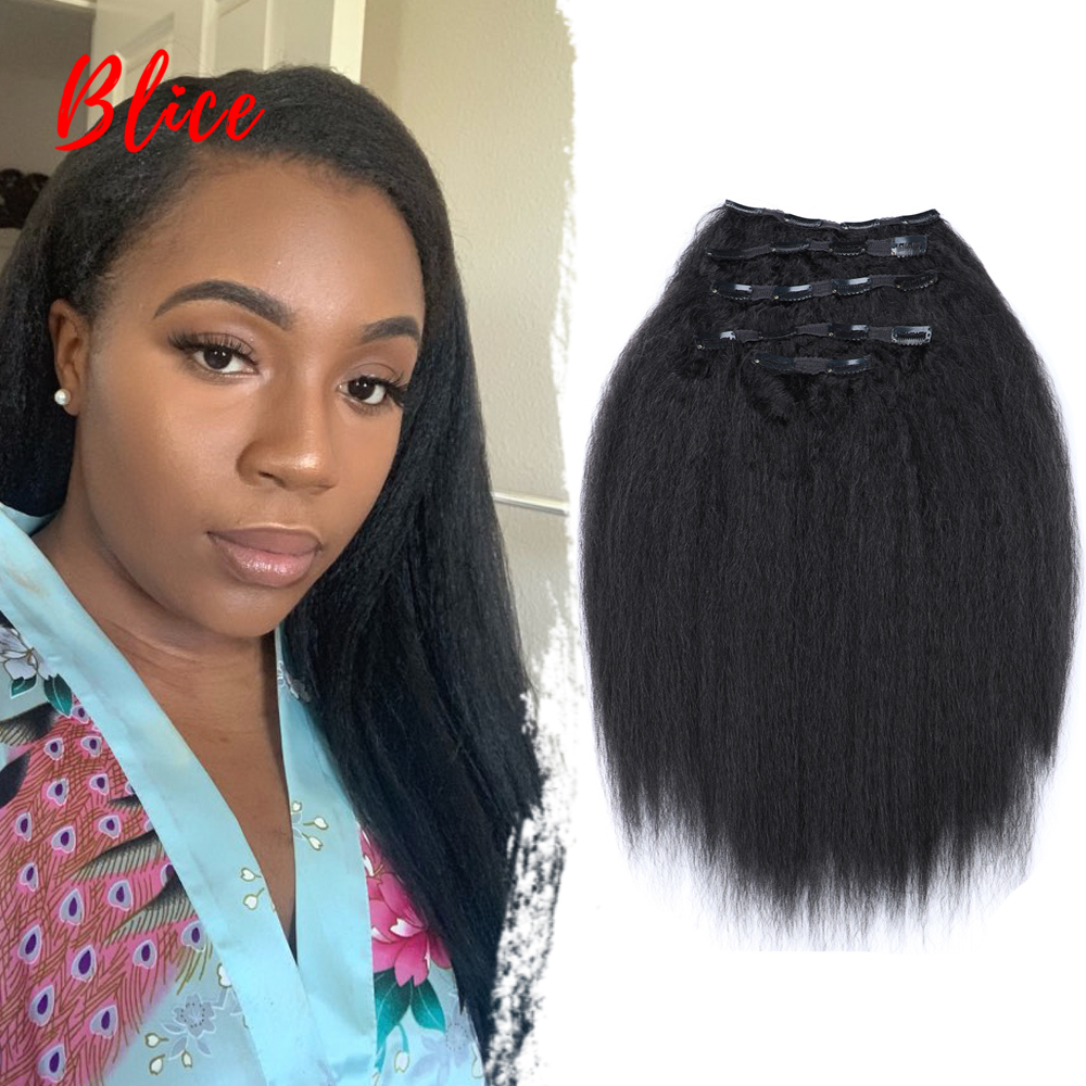 Blice 16-20 Inch 18 Clips In Hair Hairpieces Kinky Straight Long Synthetic Heat Resistant Hair Extensions Bundles 5Pcs/set 160g