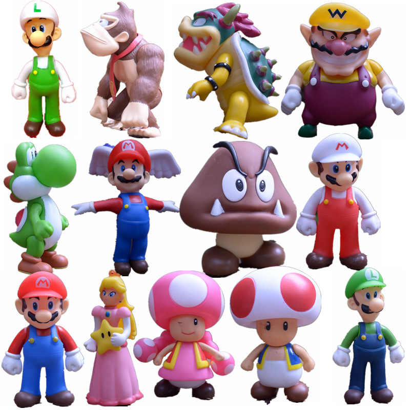 Super Mario Angka Mainan Super Mario Bros Bowser Luigi Koopa Yoshi Mario Maker Odyssey PVC Action Figure Model Boneka Mainan