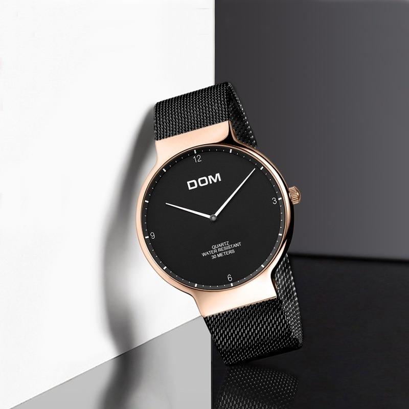 DOM Watch Ladies' Watch Fashion Ultra-Thin Mesh Belt Scandinavian Minimalist Business Waterproof Quartz Watch G-32GK-1M