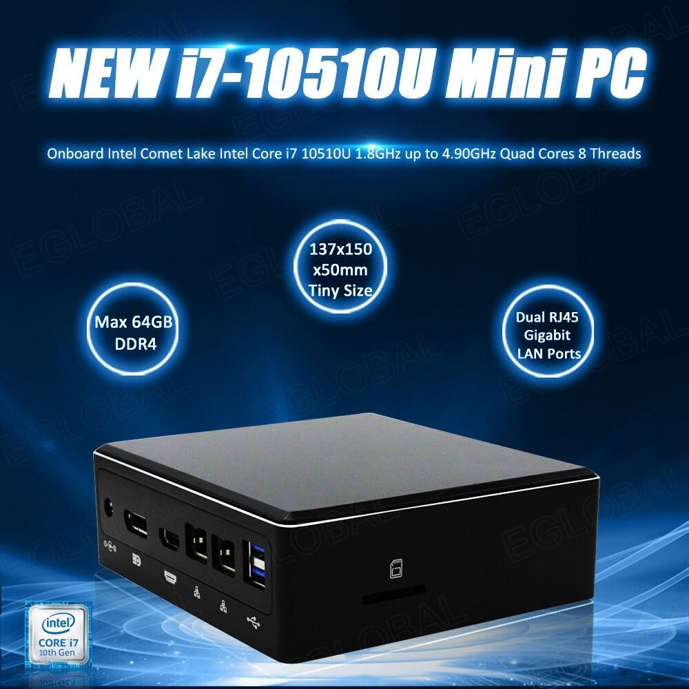 Новейший мощный Intel Core 10th i7 10510U Мини компьютер 64 Гб RAM NVME SSD Windows маленький размер портативный ПК 4USB3.0 DP HDMI Type-C