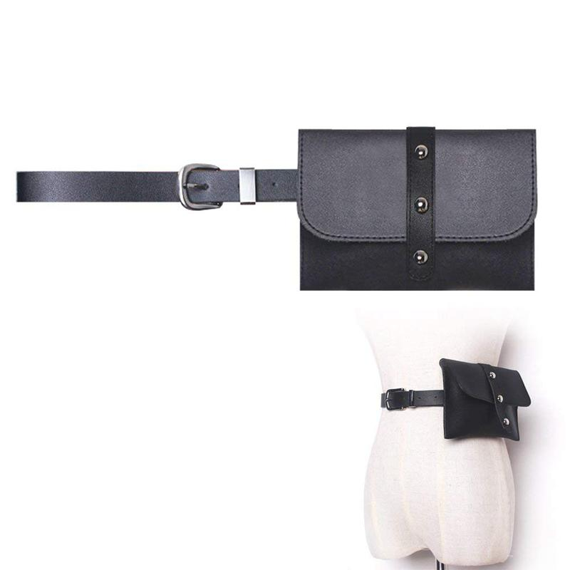 Women Leather Vertical Rivets Fanny Pack,Removable Belt With MINI Purse Travel Cell Phone Bag(Black)