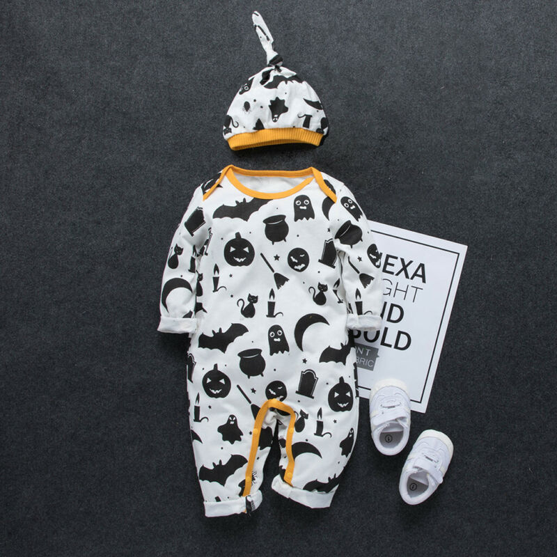 Halloween Newly Cosplay Toddler Baby Kid Boys Girls Pumpkin Print Romper +Hat Fashion Baby Clothes 2PCS Costumes