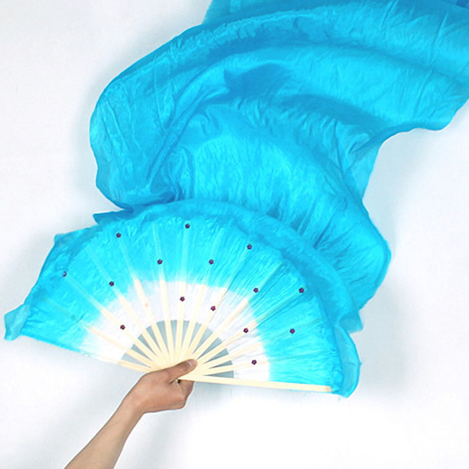 3 Colors Hand Made Colorful Belly Dance Dancing Silk Bamboo Long Fans Veils CYX