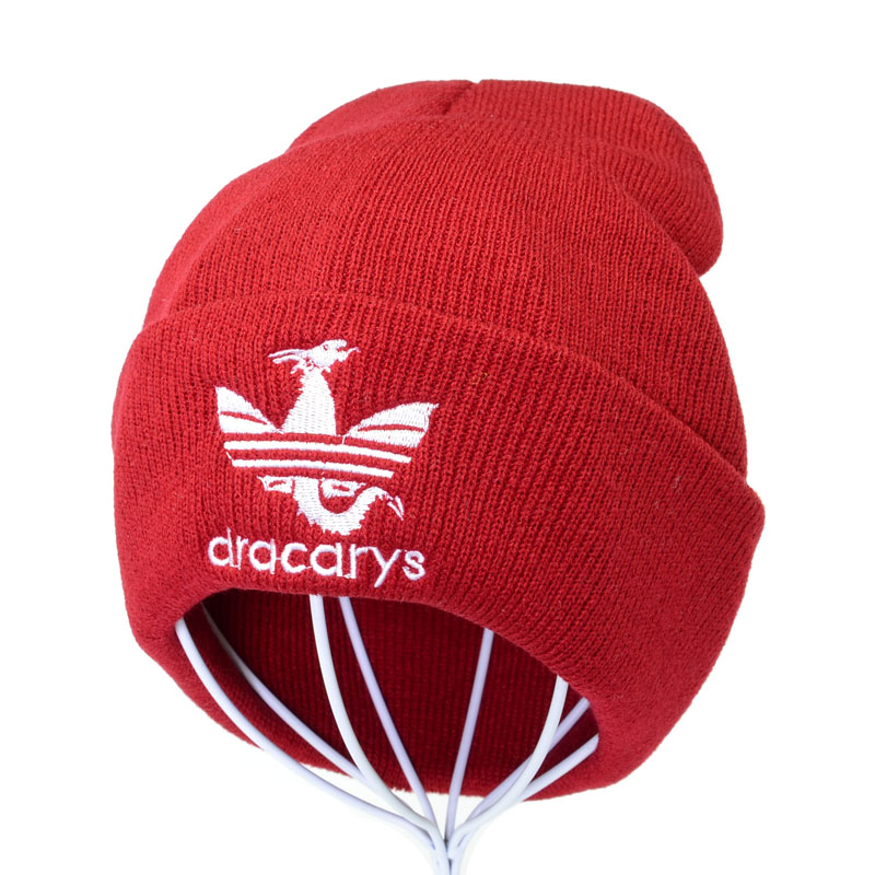 Dracarys GAME OF THRONE Female Knitted Hat Women Winter Warm Beanie Dragon Embroidery Cap Men Outdoor Ski Skullies Beanies Caps