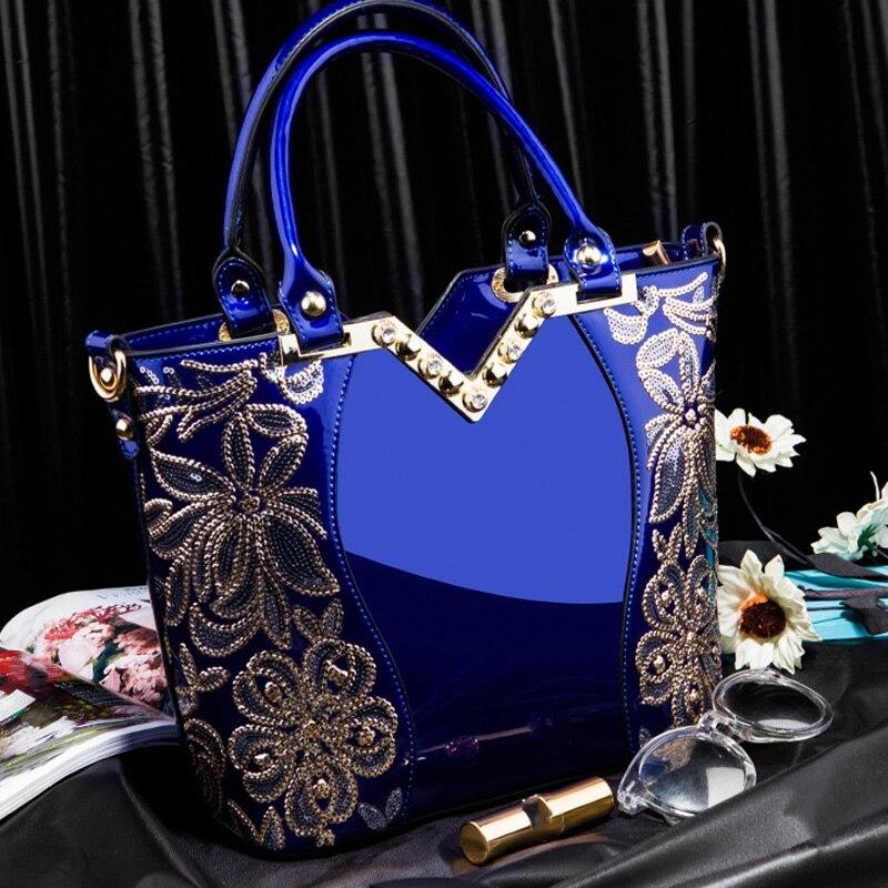 Patent Leather Shoulder Bag Female Evening Bag Handbag Large Capacity Ladies Sequin Crossbody Tote Bag