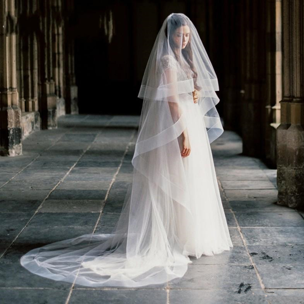 2020 One layer Cathedral Length Wedding veil Long bridal veils without comb