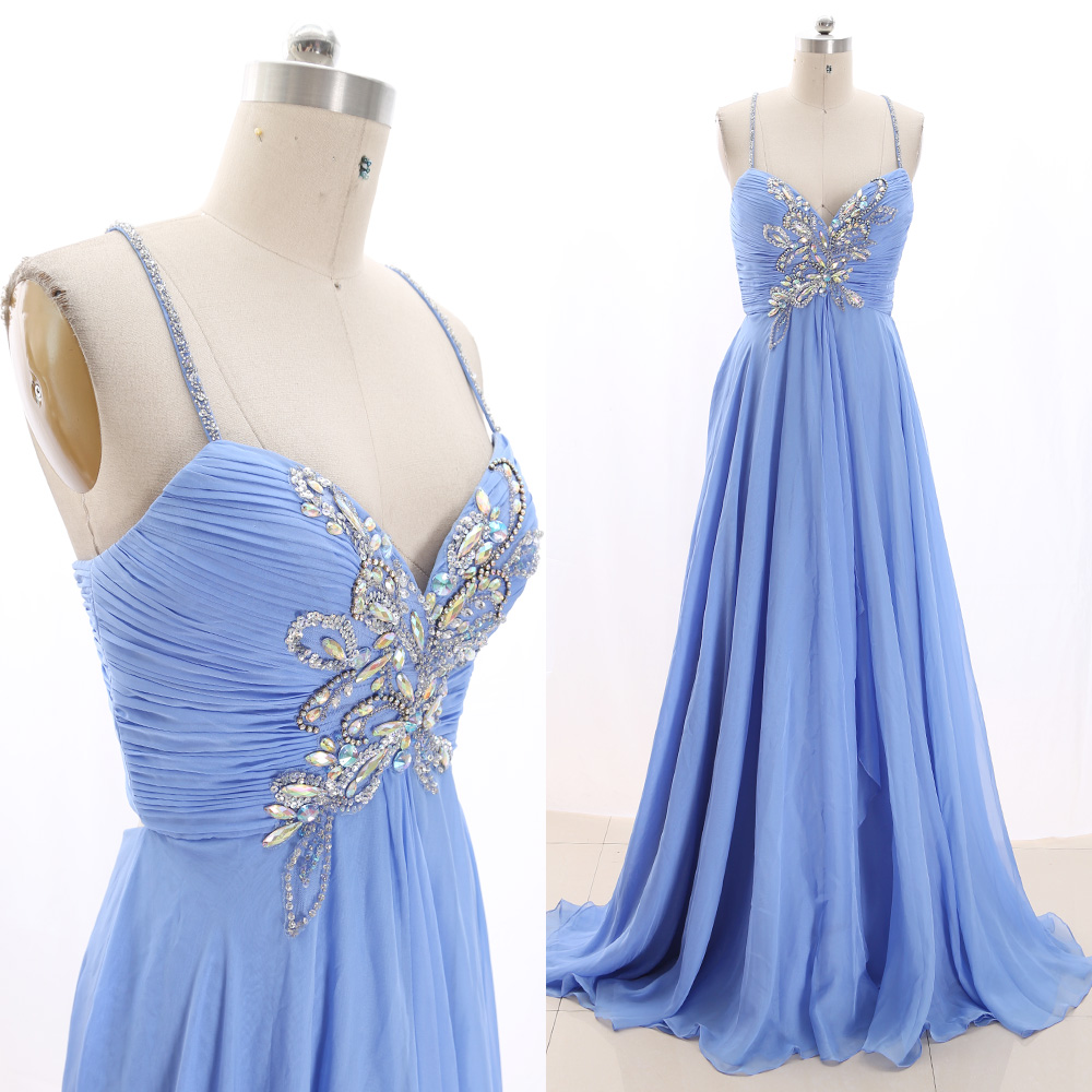 MACloth Sky Blue Sweep Train Strap Floor-Length Long Crystal Chiffon   Prom     Dresses     Dress   M 267506 Clearance
