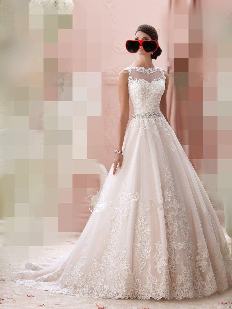 2019 Custom Spring Stylish Sheer Neckline Lace Illusion Beaded Sexy Back A-line Bridal Wedding Dresses Vestido De Noiva Tulle