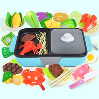 37Pcs 2 In 1 Pretend Play Toy Kitchen Hot Pot Barbecue Playset Blue